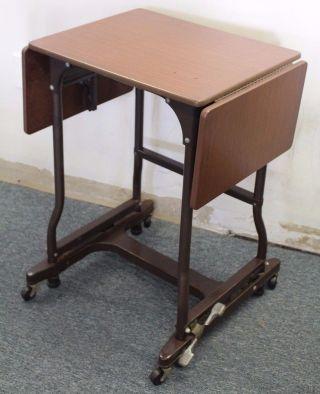 Vintage Industrial Metal & Wood Typewriter Cart Table Desk W/ Locking Wheels photo
