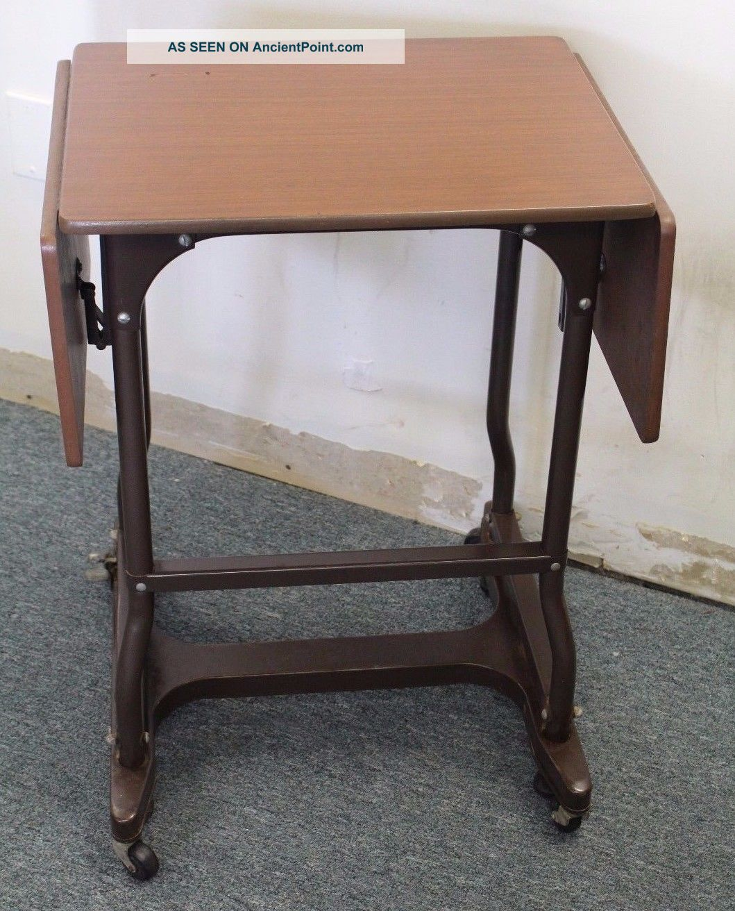 Marvelous photograph of  Industrial Metal & Wood Typewriter Cart Table Desk W/ Locking Wheels with #845C48 color and 1059x1312 pixels
