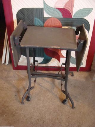 Vintage Industrial Metal & Wood Typewriter Cart Table Gray Steampunk W/ Wings photo