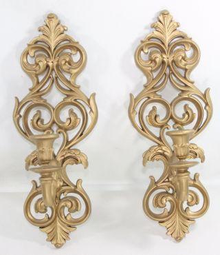Vtg Burwood Wall Sconces Ornate Candle Holders Candelabras Hollywood Regency photo