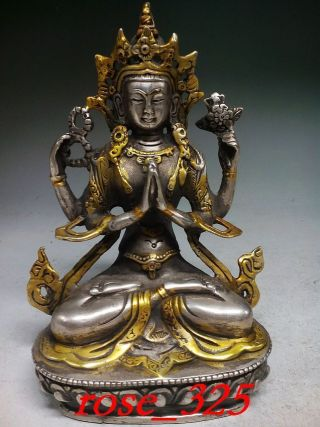 Vintage Tibet Silver Copper Gilt Tibetan Buddhism Statue - - Buddha photo