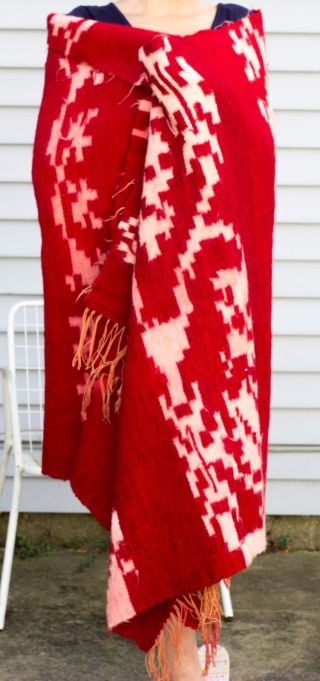 Antique/vintage Native American Blanket,  Hand Woven Red Vegetable Dye & White photo