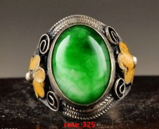 Chinese Collect Exquisite Tibetan Silver Cloisonne Mosaic Natural Jade Ring photo