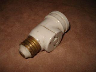 Antique Hubbell White Porcelain Light Bulb Base Socket photo