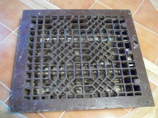 Antique Cast Iron Victorian Floor Heat Register Grate W/ Louvers 16