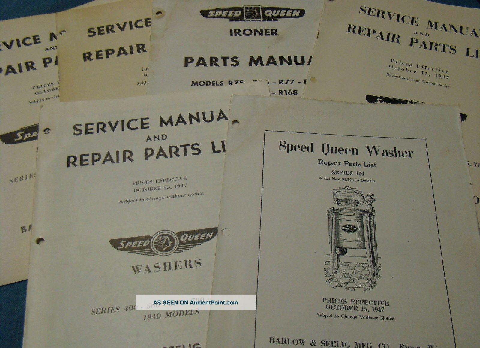 6 1940s - 50s Speed Queen Washing Machine Manuals & Parts Lists Vintage Washer Washing Machines photo