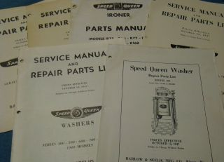 6 1940s - 50s Speed Queen Washing Machine Manuals & Parts Lists Vintage Washer photo