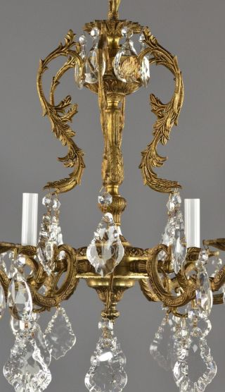 Spanish Brass & Crystal Chandelier C1950 Vintage Antique French Style Ornate photo
