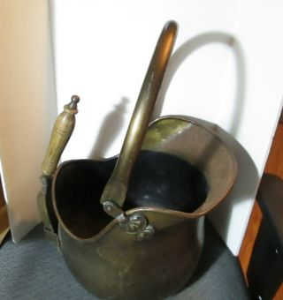 Vintage Solid Brass Coal Scuttle/bucket With Handle And Shovel photo