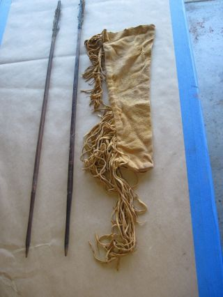 Vintage Deer Hide Quiver And Arrows African Asian Bow Arrow photo