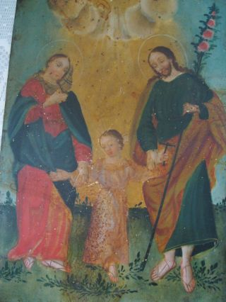 Antique Retablo On Tin Image Of The Holy Family photo
