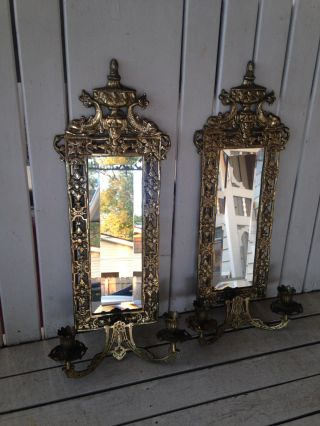 Exquisite Heavy Early 1900s Brass Wall Sconces Beveled Mirror Fish Top photo