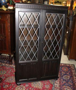 English Oak Leaded Glass Bookcase / Display Cabinet. photo