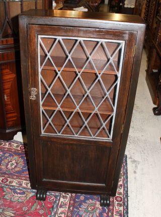 English Oak Leaded Glass 3 Shelf Bookcase / Curio. photo