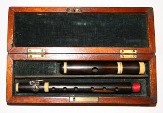Antique C.  1820 French Ebony Piccolo Flute 1 Solid Silver Key,  Case photo