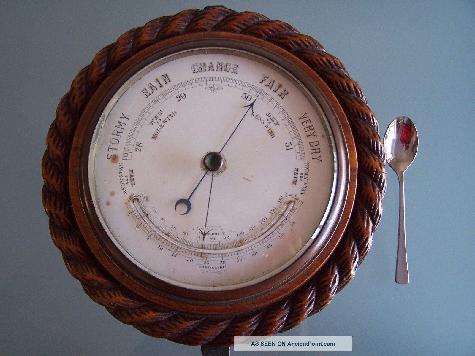 Oak Rope - Twist Aneroid Barometer C1890 Nicely Carved Looks Good But Not Other Maritime Antiques photo