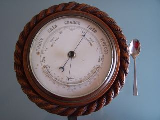 Oak Rope - Twist Aneroid Barometer C1890 Nicely Carved Looks Good But Not photo