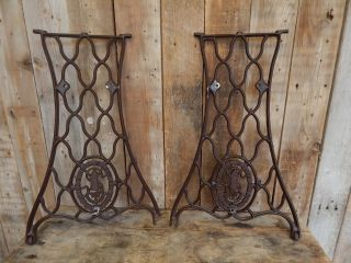 2 Antique Industrial Cast Iron Machine Table Legs Old Vintage Primitive Decor photo