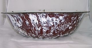 Large Vintage Brown & White Swirl Enamelware Wash Basin Graniteware 1930s 1940s photo