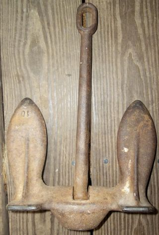 Vintage 10 Lb Cast Iron Boat Anchor Nautical Maritime Beach House Shore Decor photo