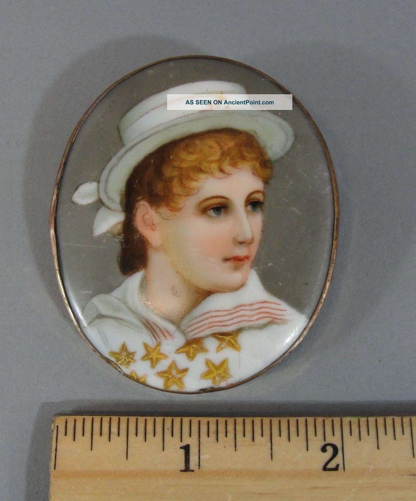 Antique Victorian Miniature Porcelain Portrait Painting Girl Sailor Outfit Pin Other Maritime Antiques photo