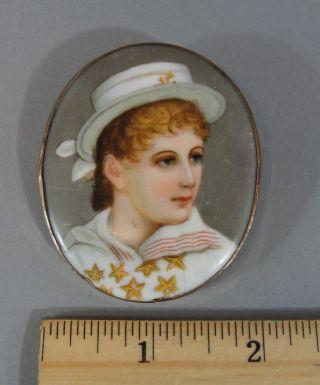 Antique Victorian Miniature Porcelain Portrait Painting Girl Sailor Outfit Pin photo