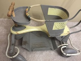 Vintage Antique 1940 ' S Gray & Yellow Taylor Tot Stroller W/ Fenders photo