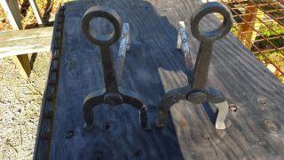 Antique Vintage Bradley & Hubbard Cast Iron Andirons 9587 photo