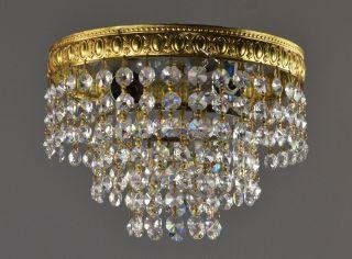 Swarovski Crystal Flush Mount Chandelier C1950 Vintage Antique Brass Gold Lights photo