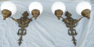 Vintage Pair 2 Arm Bronze Wall Sconces W Shades Hollywood Co.  French Form photo