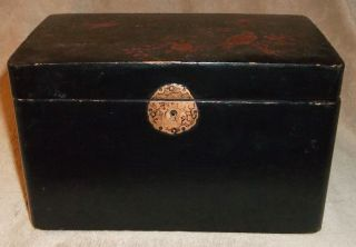 Estate Find Japanese ? Vintage Lacquer Wooden Tea Caddy Birds Divided Lids With photo