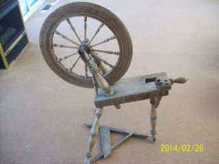 Primitive Antique 150 Year Old Wooden Spinning Wheel photo