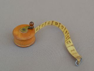Antique French - Sewing Tape Measure - Twisted Box Tree Wood photo