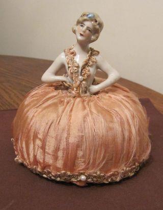 Antique Victorian Handmade Porcelain Silk Painted Female Figural Pincushion Pin photo