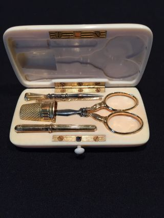 Antique Fine French Solid 18k Gold & Steel Sewing Kit Carved Case All photo