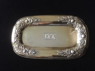 Fabulous S.  Kirk Sterling Silver Vermeil Floral Repousse Dresser Tray / Dish photo