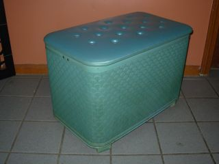 Vintage Mid Century Modern Pearl - Wick Teal Storage Hassock/bench/hamper/chest photo
