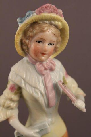 1875 Antique Porcelain German Carl Schneider Bonnet Half Doll Dinner Bell 12237 photo