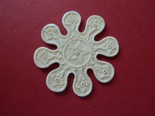 Hand Carved Flowers Snow Flake Thread Winder Sewing Ca 1850 photo