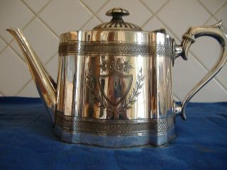 Antique Silver Plated Britannia Metal Teapot photo