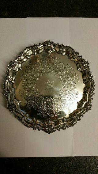Very Fine Antique Birmingh Hallmarked 1901 Sterling Silver Card Tray Salver Dish photo