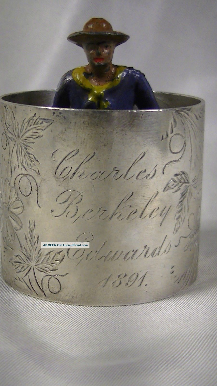 Antique Sterling Silver Napkin Ring,  Engraved 1891,  Charles Berkeley Edwards Napkin Rings & Clips photo