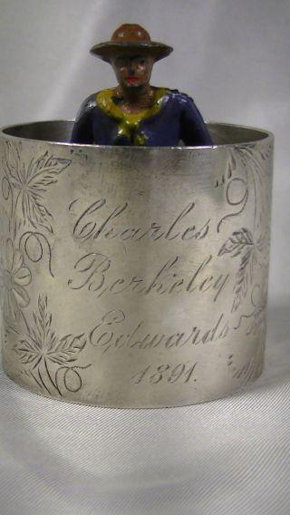 Antique Sterling Silver Napkin Ring,  Engraved 1891,  Charles Berkeley Edwards photo