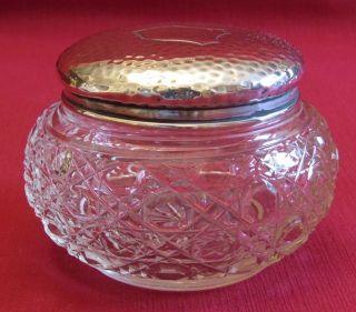Edwardian Vanity / Dressing Table Jar Solid Sterling Silver Top,  Birmingham 1904 photo