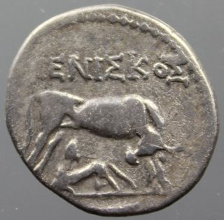 Dyrrhachium,  Illyria,  Cow,  Calf,  Eagle,  Drachm,  Silver,  MeniΣkoΣ,  200 - 80 B.  C. photo