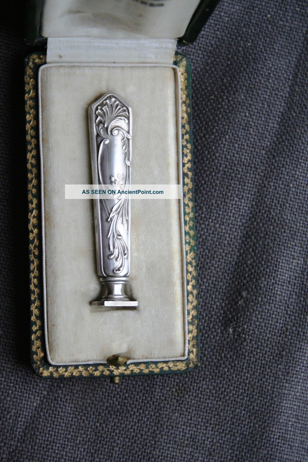 Antique French Art - Nouveau Solid Silver Desk Wax Seal Xixth Minerva 1 In His Box France photo