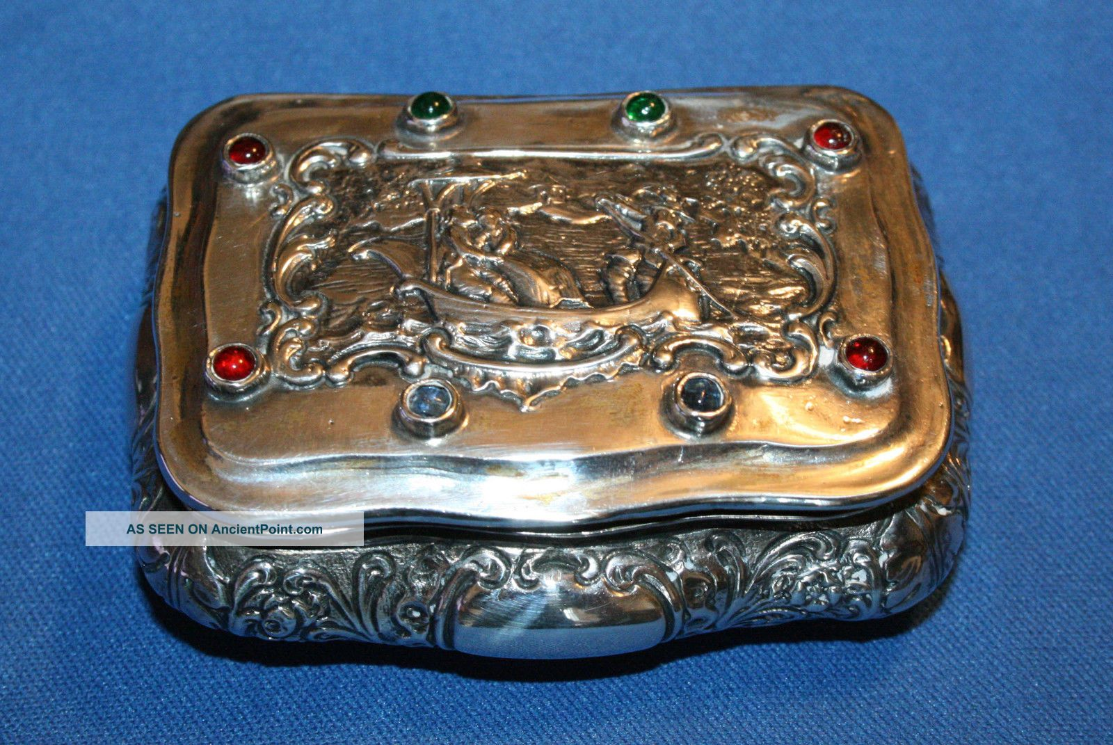 German Hannau 800 Silver Jeweled Snuff Box Made By Ludwig Neresheimer Germany photo
