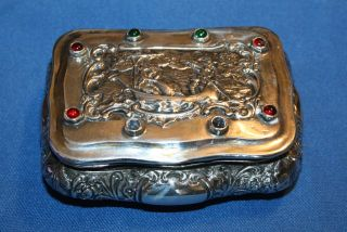 German Hannau 800 Silver Jeweled Snuff Box Made By Ludwig Neresheimer photo