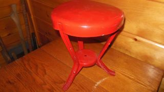 Vintage Metal Milking Stool / Old Farm Tool / Red Painted Dairy Stool photo