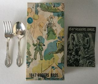 1847 Rogers Bros Is Remembrance Baby Fork & Spoon Circus Box And Brochure 1948 photo